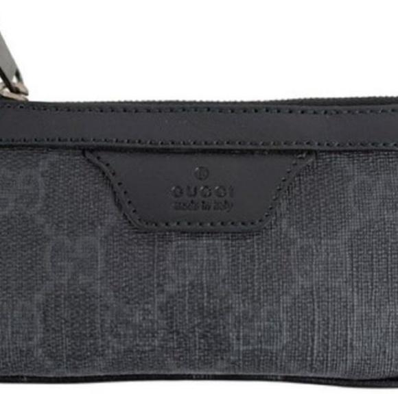 57adc34b4 Gucci Bags   Blackgray Leather Supreme Zip Change Purse   Poshmark